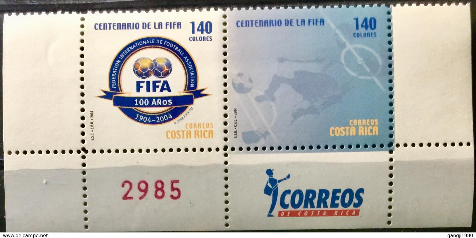 COSTA RICA 2004 MNH STAMP ON CENTENARY  OF FIFA FOOTBALL  ASSOCIATION  TOP PAIR - Costa Rica