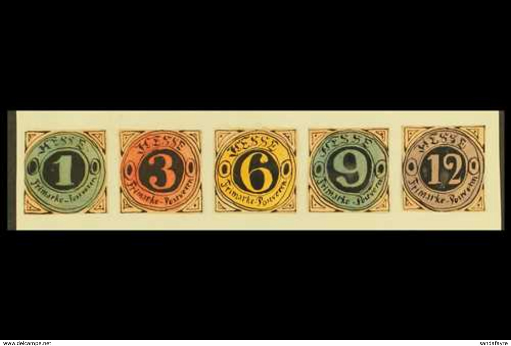 """1861 HAND PAINTED STAMPS Unique Miniature Artworks Created By A French """"Timbrophile"""" In 1861. HESSE """"essays"""" (no Postage - Unclassified"""