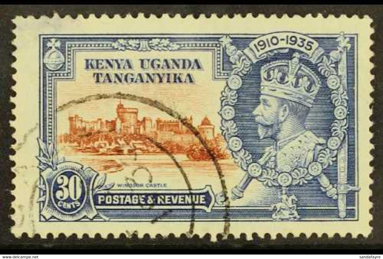1935 30c Brown And Deep Blue Silver Jubilee, Diagonal Line By Turret, Cds Used, Thin At Upper Left. For More Images, Ple - Vide