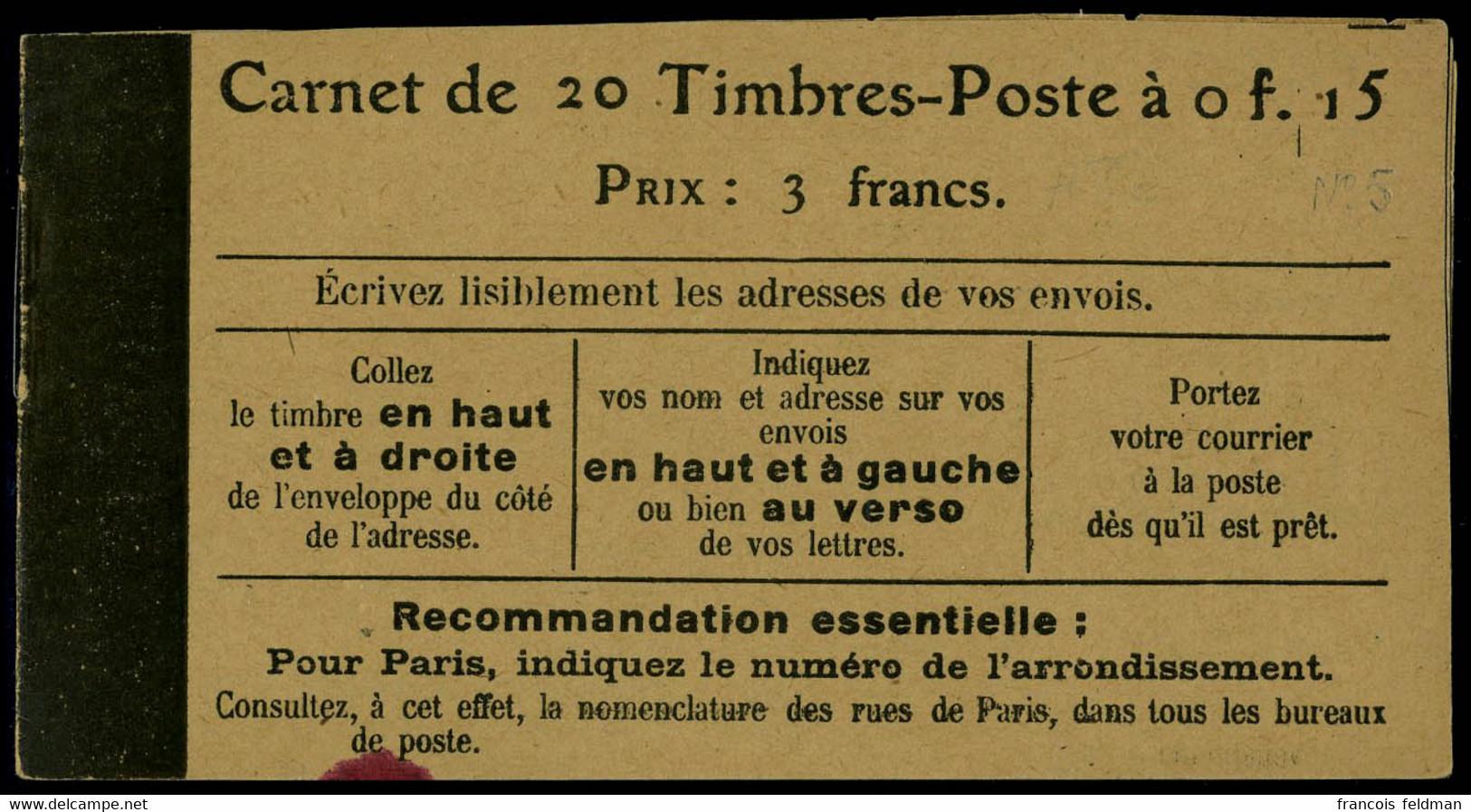 Neuf Sans Charnière N° 130-C2, 15c Semeuse Lignée, 2ème Page De Couverture Loi Du 30 Décembre 1916, Papier GC (petite Ta - Unclassified