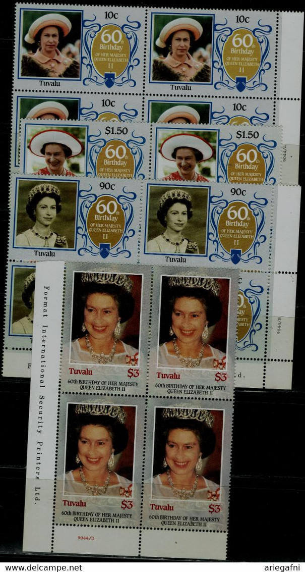 TUVALU 1986 60th BIRTHDAY OF HER MAJESTY QUEEN ELIZABETH II BLOCK OF 4 MI No 360-3   MNH VF!! - Tuvalu