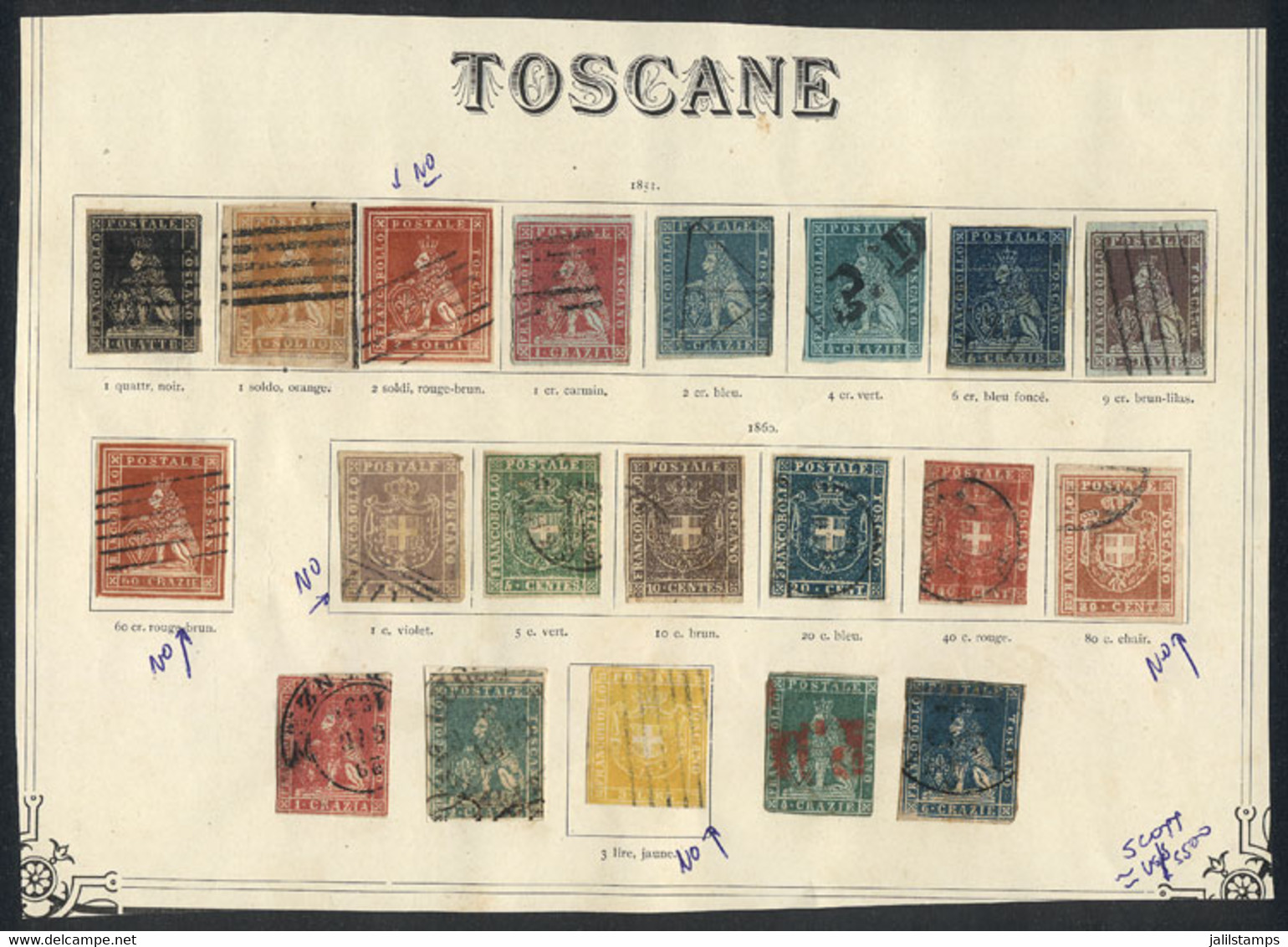 ITALY: Collection In Old Worldwide Album Page, Including High And Rare Values (some Can Be Forgeries Or Reprints, Some T - Toskana