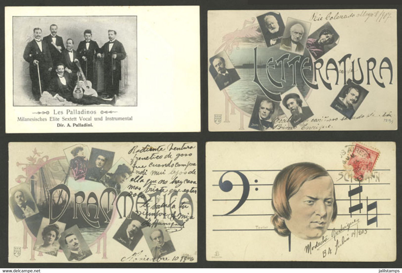 WORLDWIDE: ARTISTS, MUSICIANS, COMPOSERS, Etc: 17 Old Postcards With Very Interesting Views, Fine To VF General Quality, - Mundo