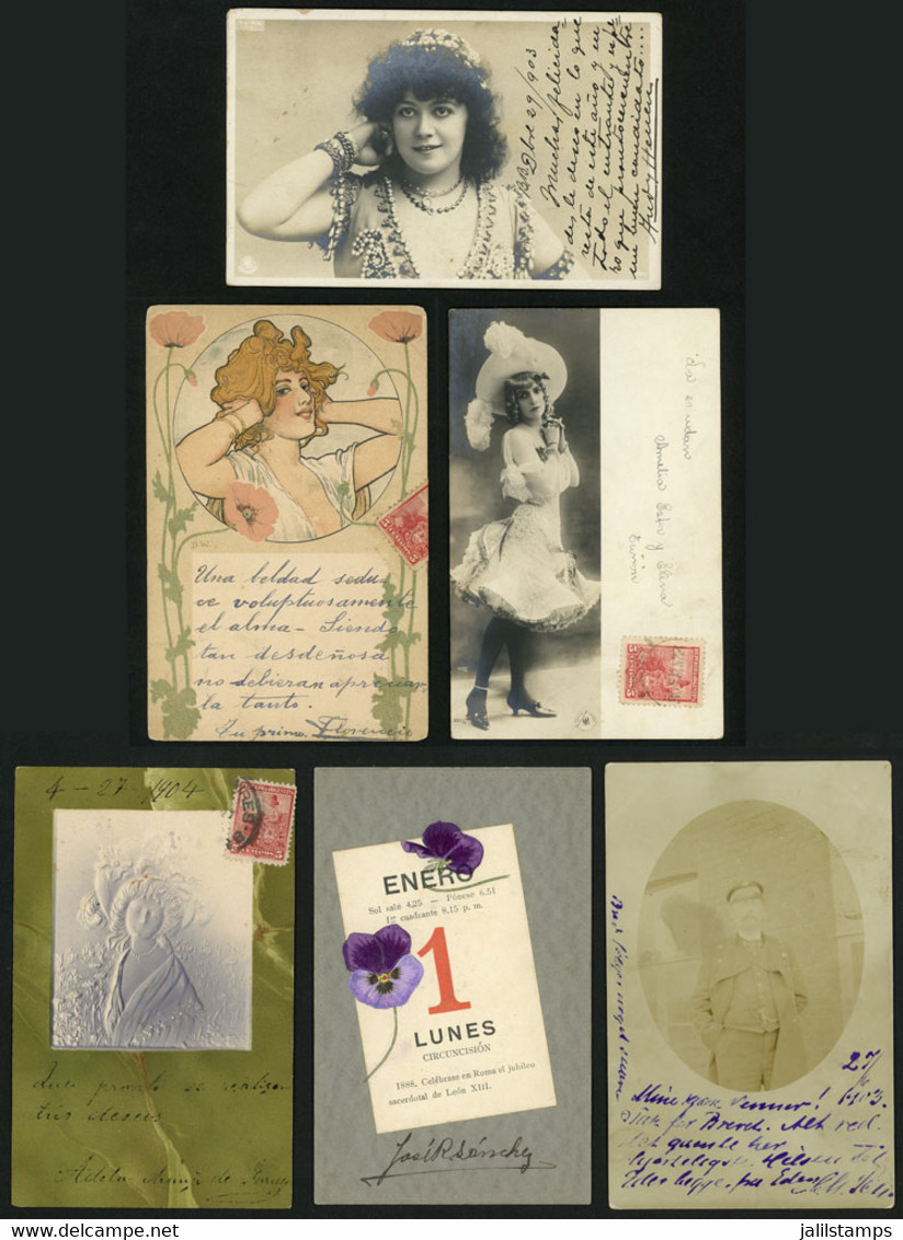 WORLDWIDE: 26 Old Postcards With Views Of Women, Artistic, Flowers, Etc., VF General Quality, Good Opportunity! IMPORTAN - Mundo