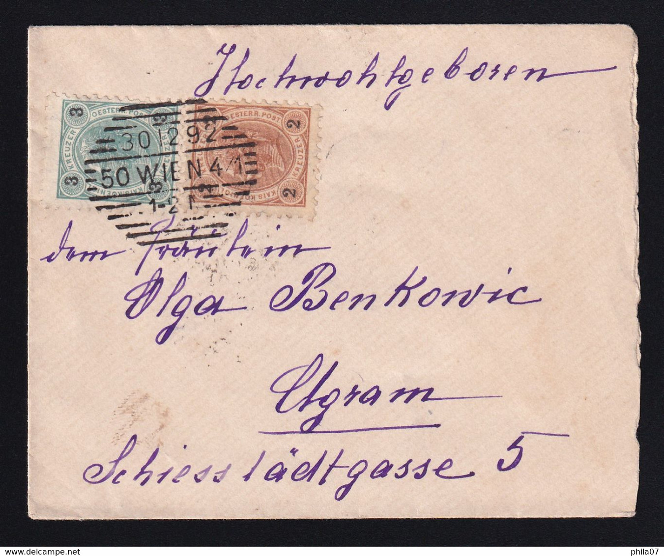 Austria - Small Size Letter Sent From Wien To Zagreb 30.12. 1892. Two Colored Franking, Good Quality. - Sin Clasificación