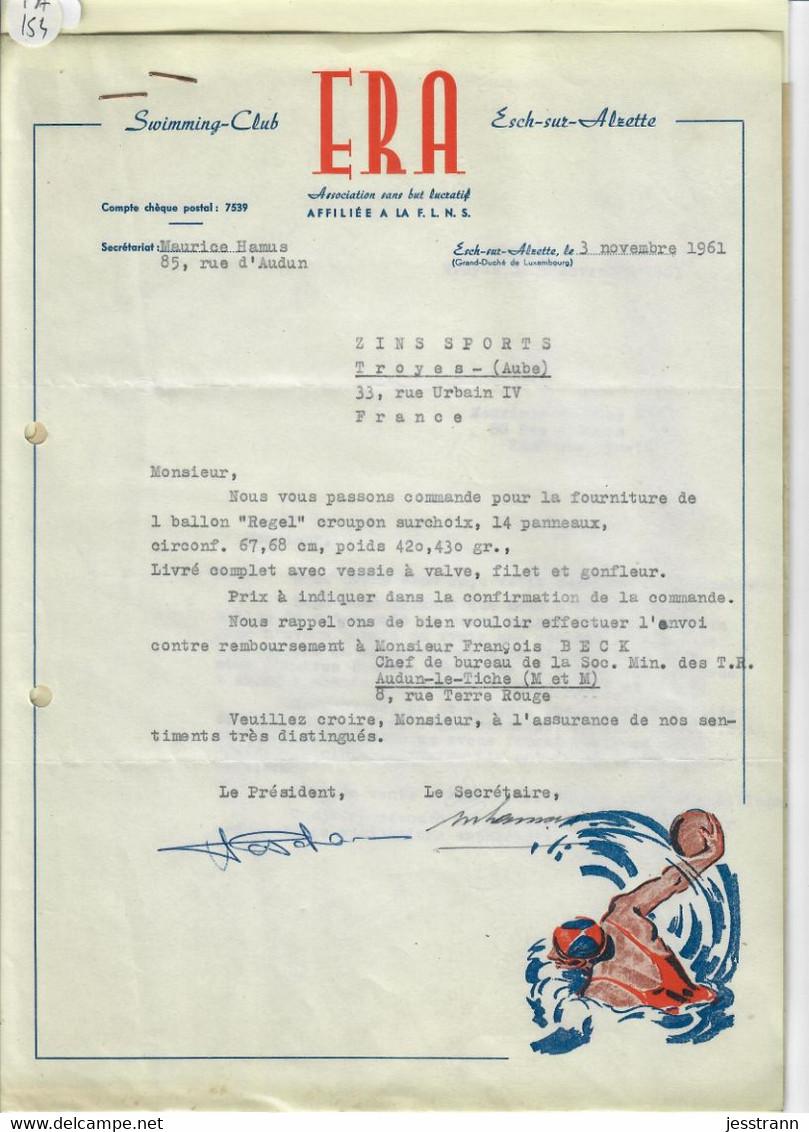 LUXEMBOURG- E R A- SWIMMING-CLUB A ESCH-SUR-ALZETTE- COMMANDE DUN BALLON REGEL- COURRIER 1961 - Luxembourg