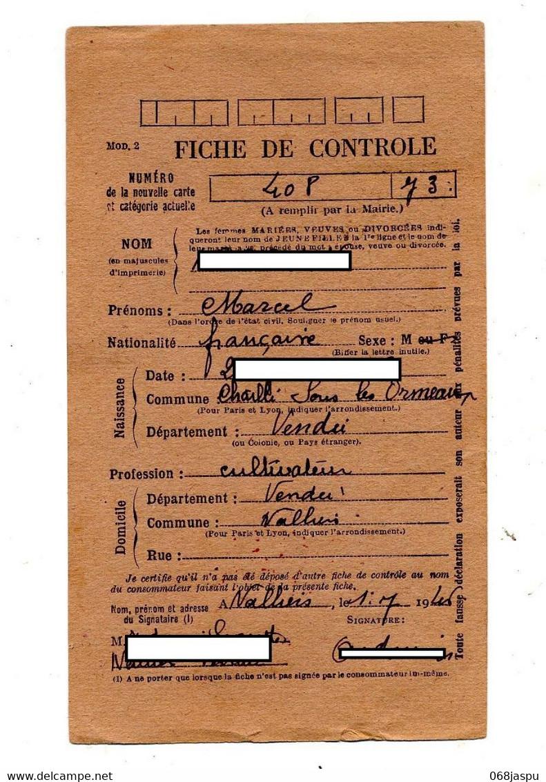Carte Postale De Ravitaillement Cachet Nalliers Vendee 1946 - Unclassified