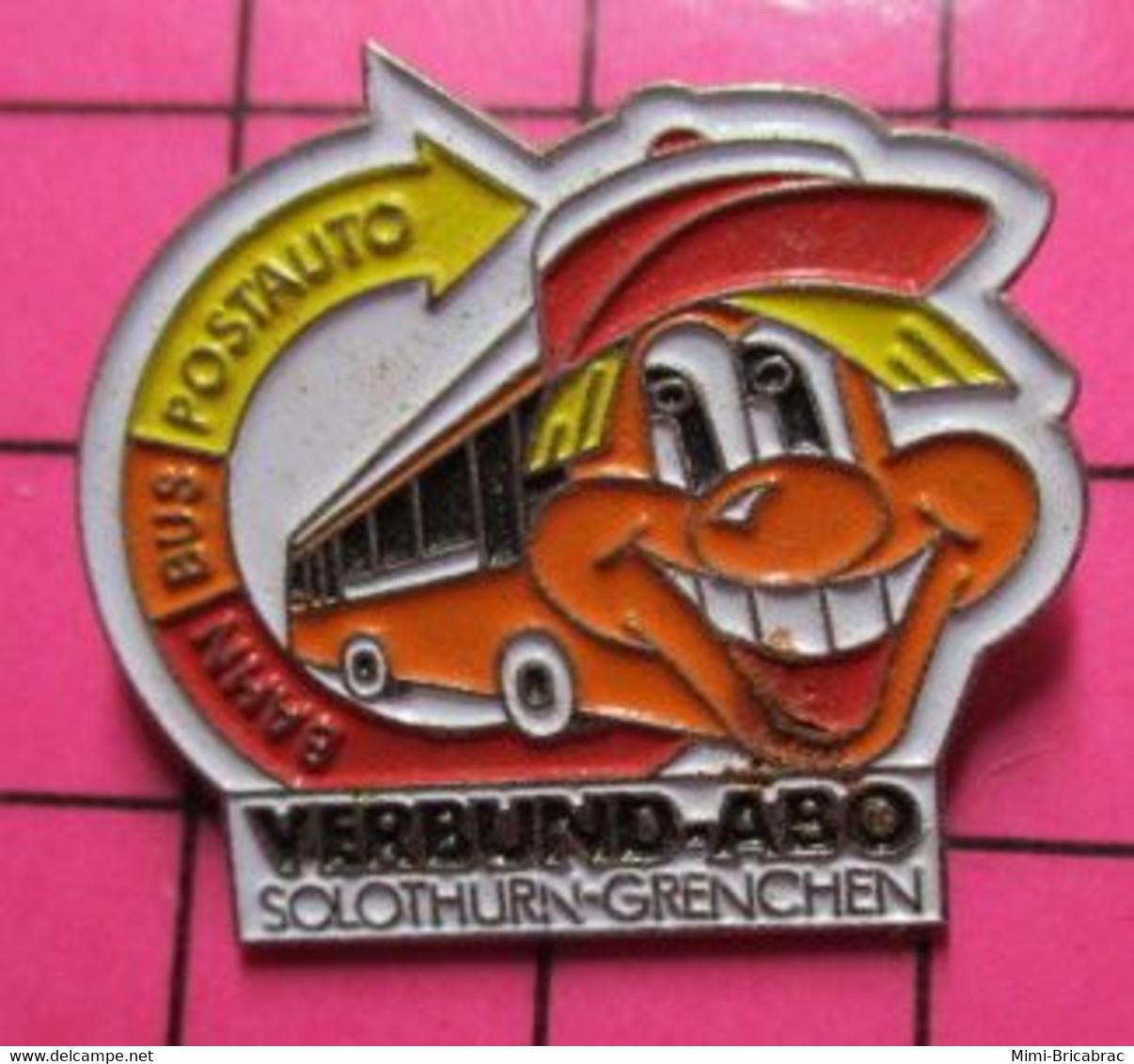 SP05 Pin's Pins / Beau Et Rare / THEME : TRANSPORTS / AUTOBUS ROUTIER ORANGE ET BLANC VERBUND-ABO SOLOTHURN-GRENCHEN - Trasporti