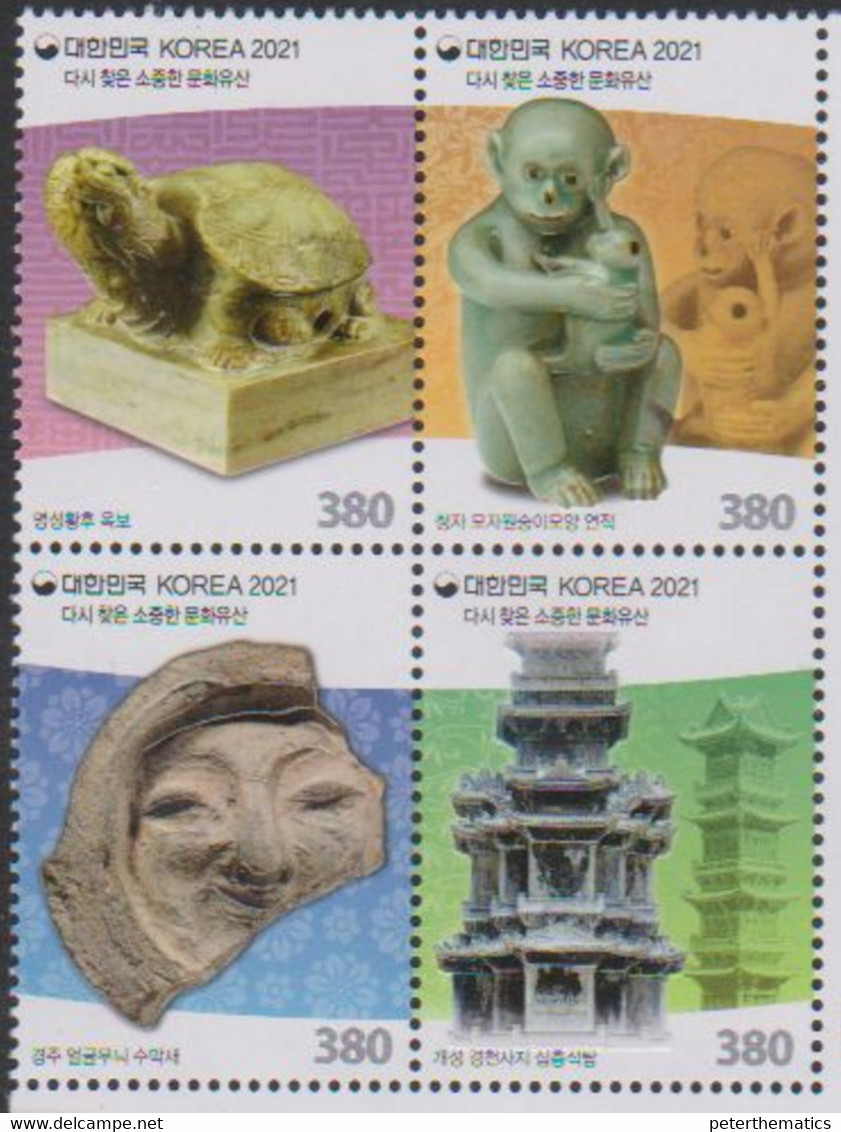 SOUTH KOREA, 2021, MNH, REPATRIATED CULTURAL HERITAGE, TURTLES, MONKEYS, 4v EMBOSSED - Archéologie