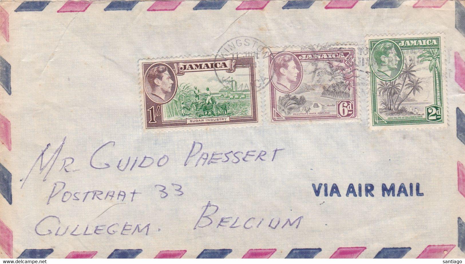 Jamaica  : Gelopen Brief Naar Gullegem Met Nrs 126 - 130 - 132 - Grenada (1974-...)