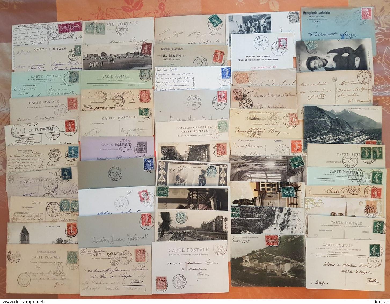 France - Lot De 50 Lettres Et Cartes Postales - CACHETS FERROVIAIRES - DEPART 1 EURO - Railway Post