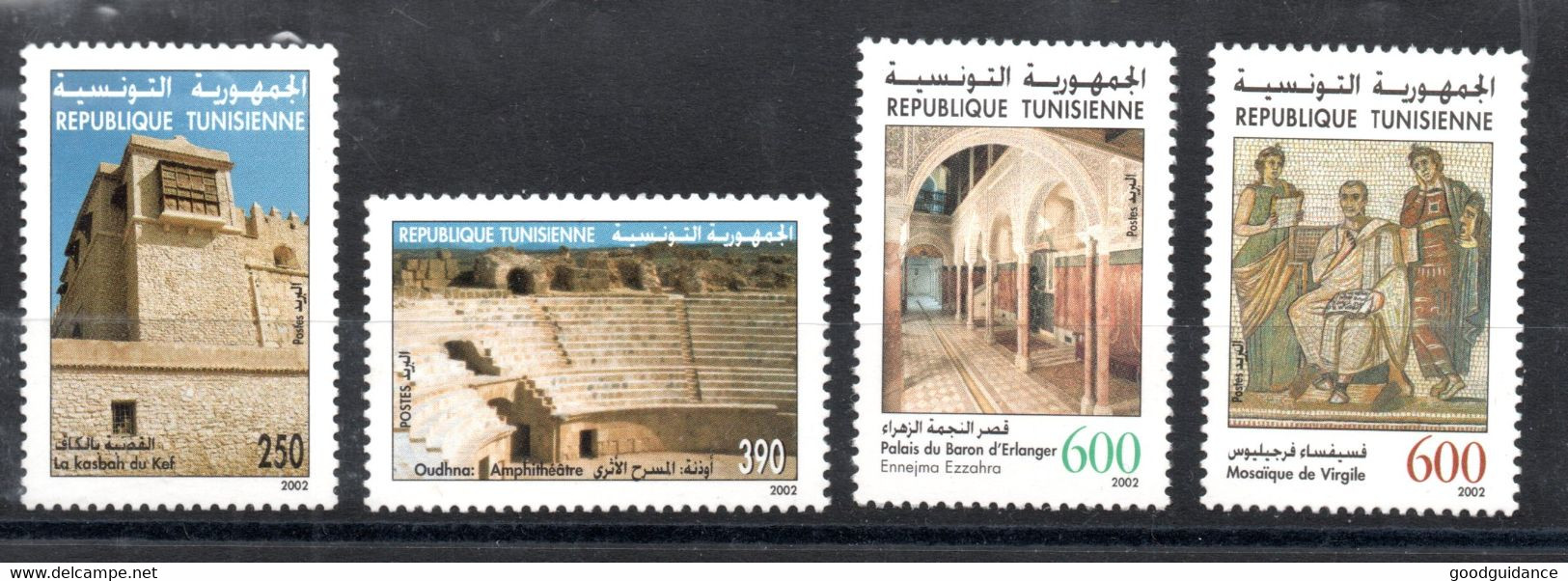2002 - Tunisia - Archaelogical Sites And Monuments Of Tunisia - Architecture - Mosaics- Complete 4v MNH** - Archéologie