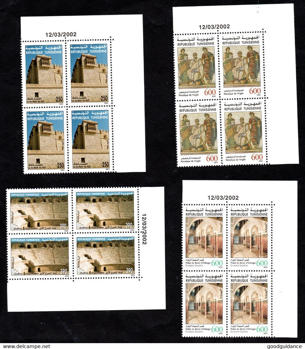 2002 - Tunisia - Archaelogical Sites And Monuments - Architecture- Mosaics- Block Of 4- Compl.set 4v MNH** Dated Corner - Archéologie