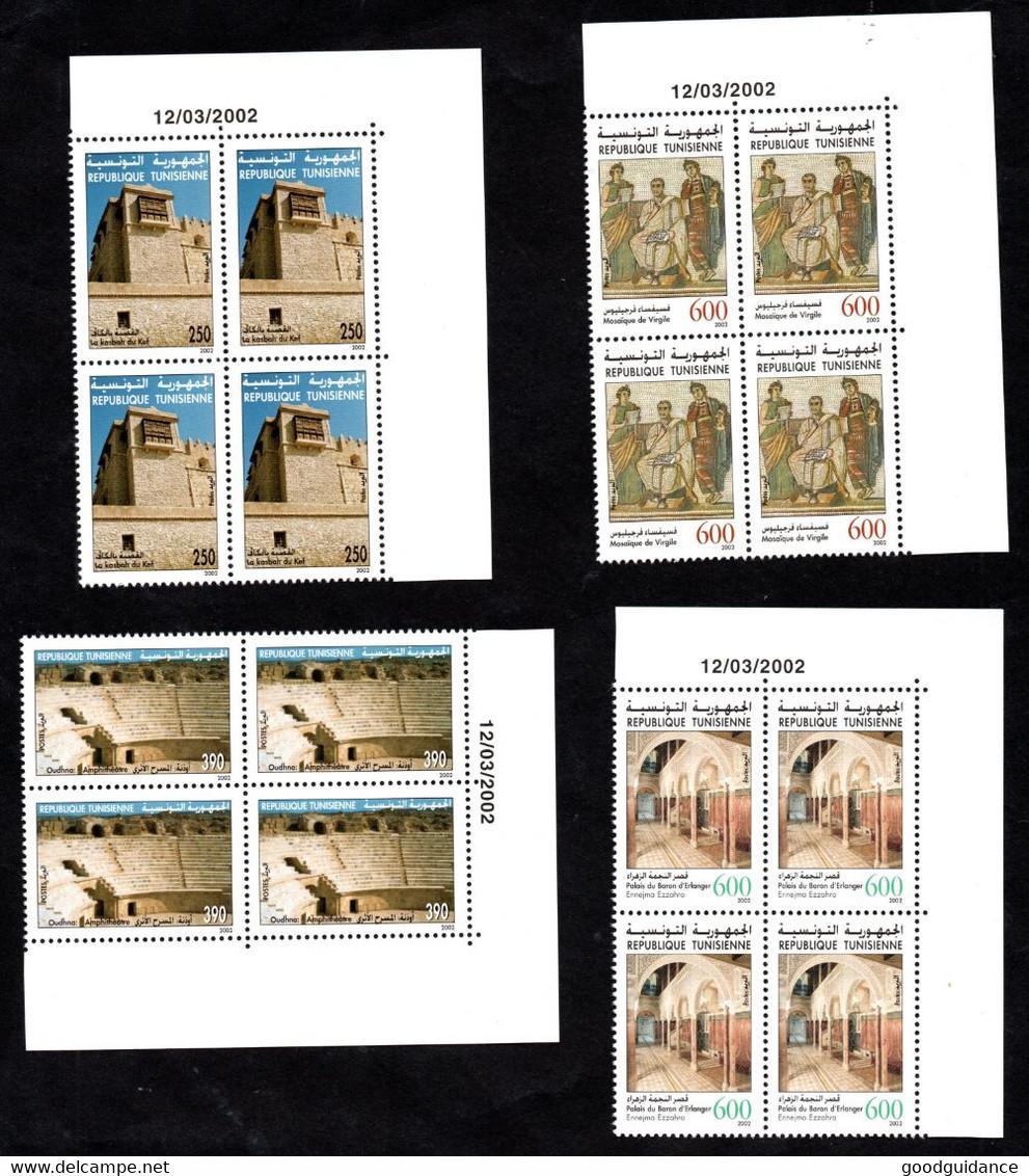 2002 - Tunisie - Sites Et Monuments Archéologiques- Architecture - Mosaïques- Bloc De 4- Série Compl.4v MNH** Coin Daté - Archéologie