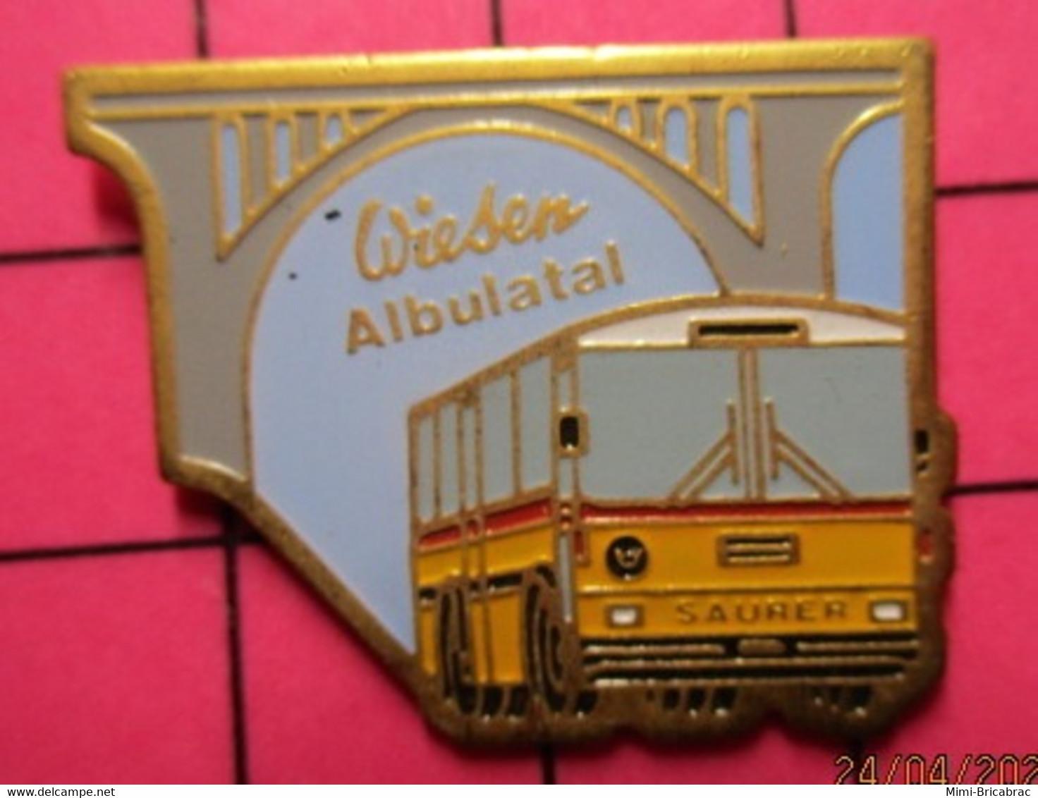 SP09 Pin's Pins / Beau Et Rare / THEME : TRANSPORTS / AUTOBUS ROUTIER SUISSE PTT SAURER WIESEN ALBULATAL Tirage N°38/500 - Trasporti