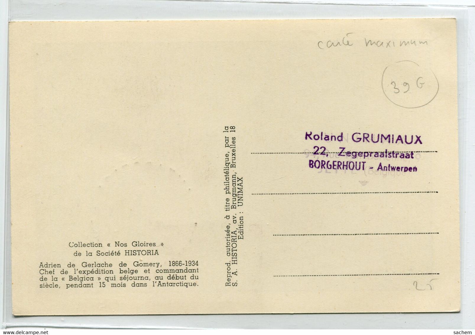 EXPEDITION POLAIRE Antarctique - Commandant  De GERLACHE Belgica Carte MAXIMUM Commémorative  8 Octobre 1966   /D25S2018 - Missions