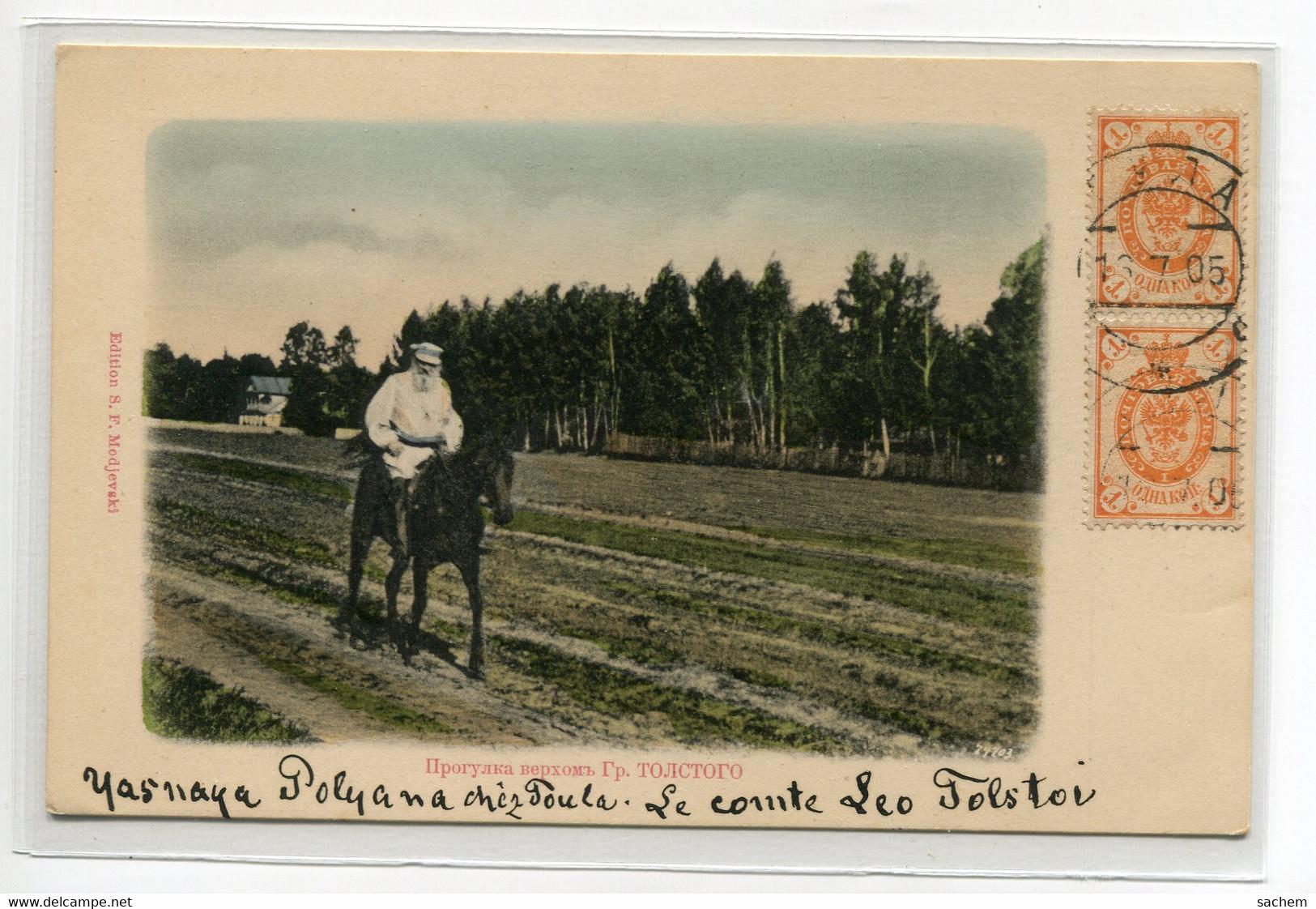 RUSSIE Rare -  Le Comte Leon TOLSTOI à Cheval Campagne  Beau Tirage  Couleur - Edit S.F Modjevski  -1905  /D25-S2018 - Russia