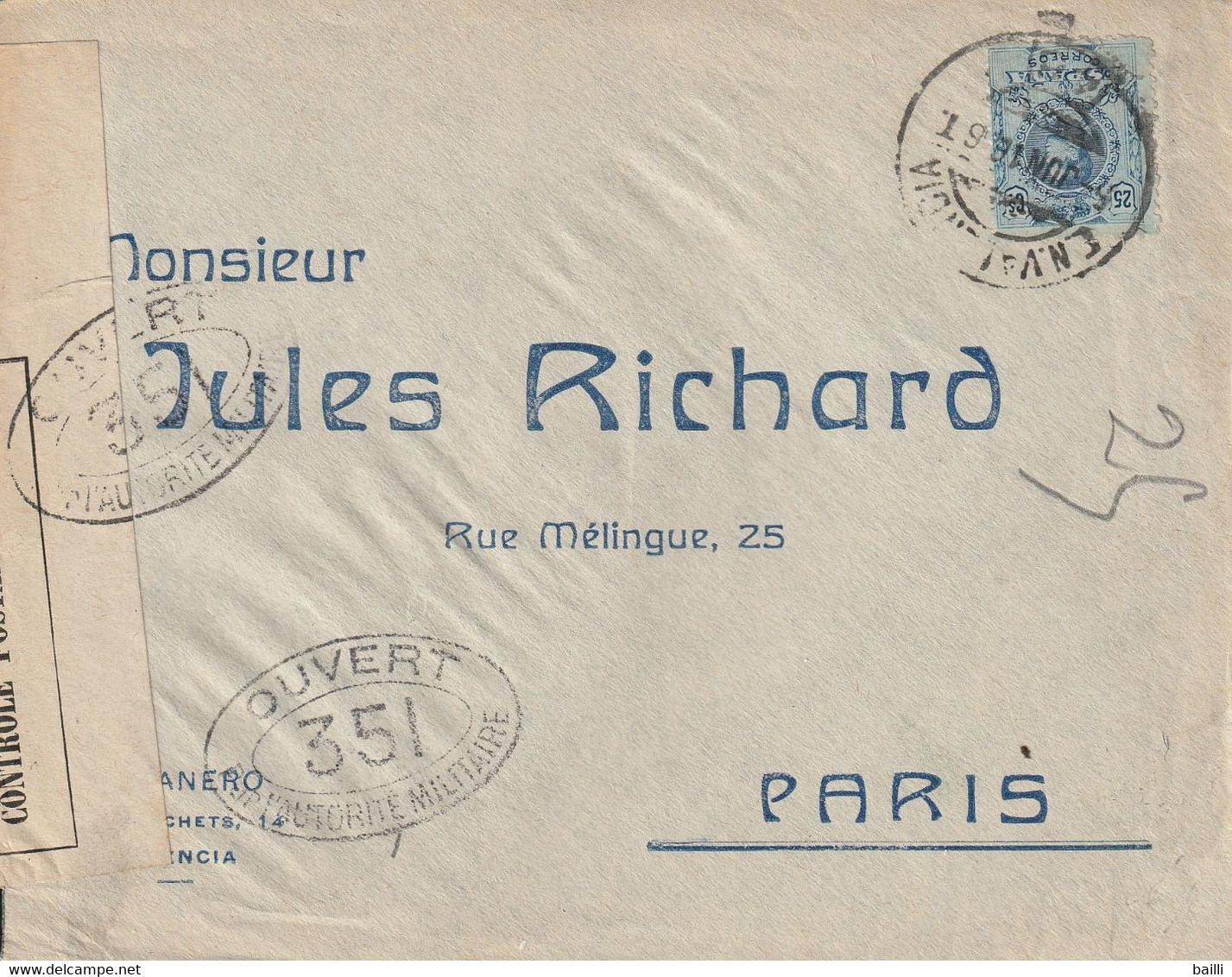 Espagne Lettre Censurée Pour La  France 1916 - Cartas