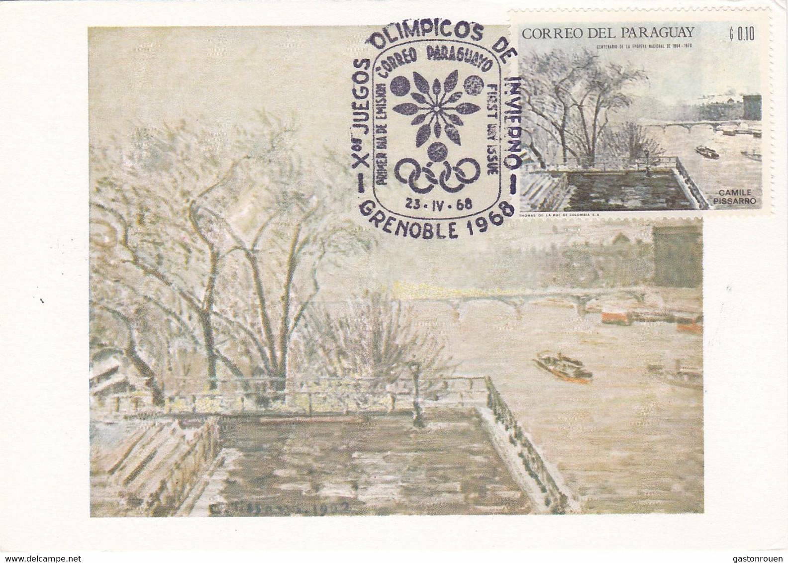 Carte Maximum Painting Peinture Paraguay 1968 Pissaro - Paraguay