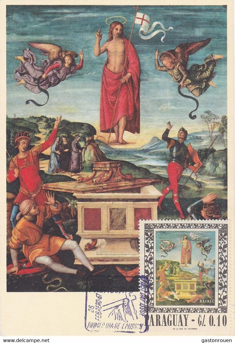 Carte Maximum Painting Peinture Paraguay 1967 Raffaello Sanzio - Unclassified