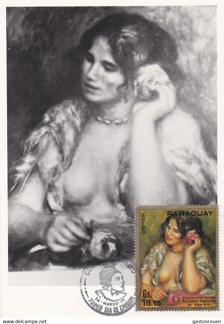 Carte Maximum Painting Peinture Paraguay 1971 Renoir - Paraguay