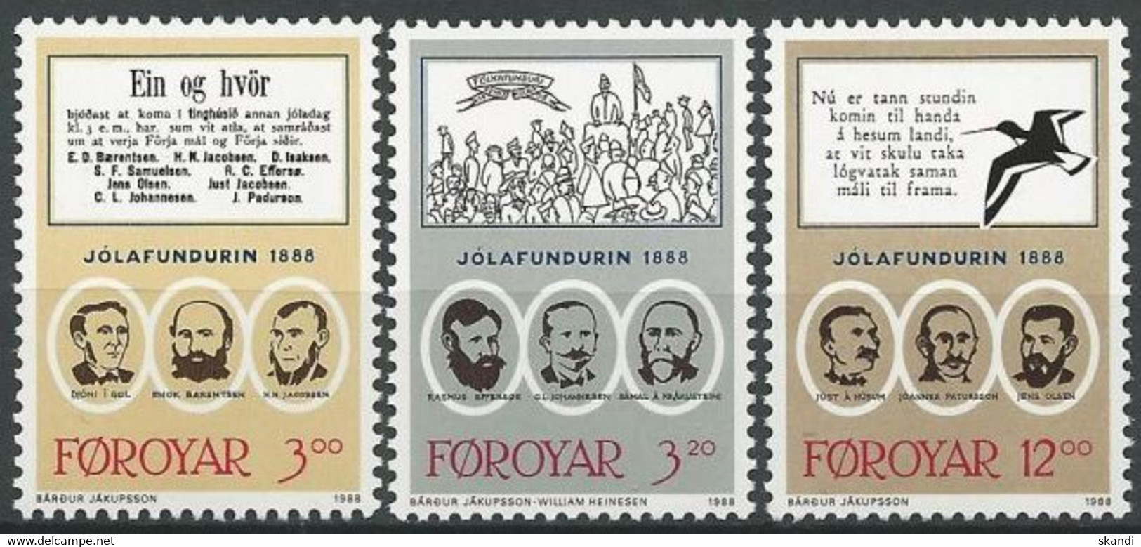 FÄRÖER 1988 Mi-Nr. 172/74 ** MNH - Faroe Islands