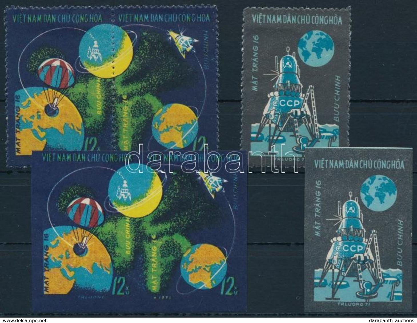 ** 1971 Űrkutatás, Luna 16 Fogazott és Vágott Sor Mi 669-671 - Unclassified