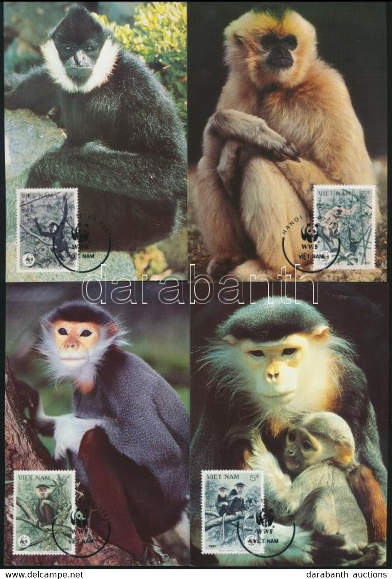 ** 1987 WWF: Gibbonok Sor Mi 1827-1830 + 4 Db CM + 4 Db FDC - Unclassified