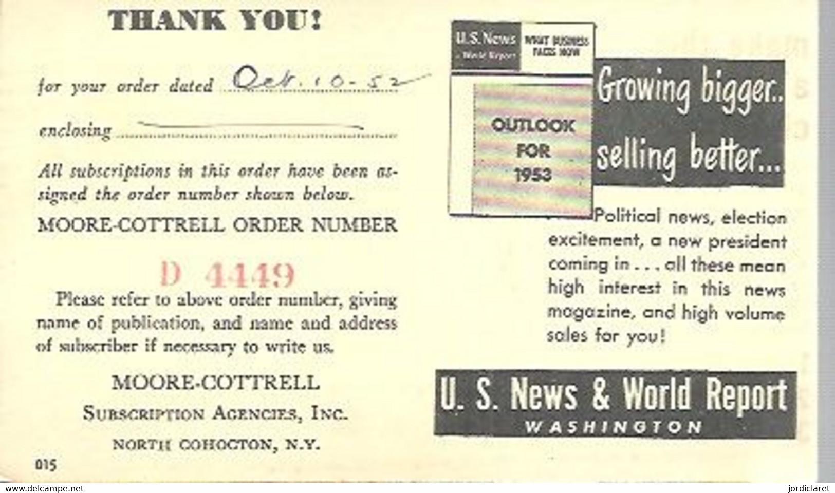 STATIONERY  1952 COHOCTON - 1941-60