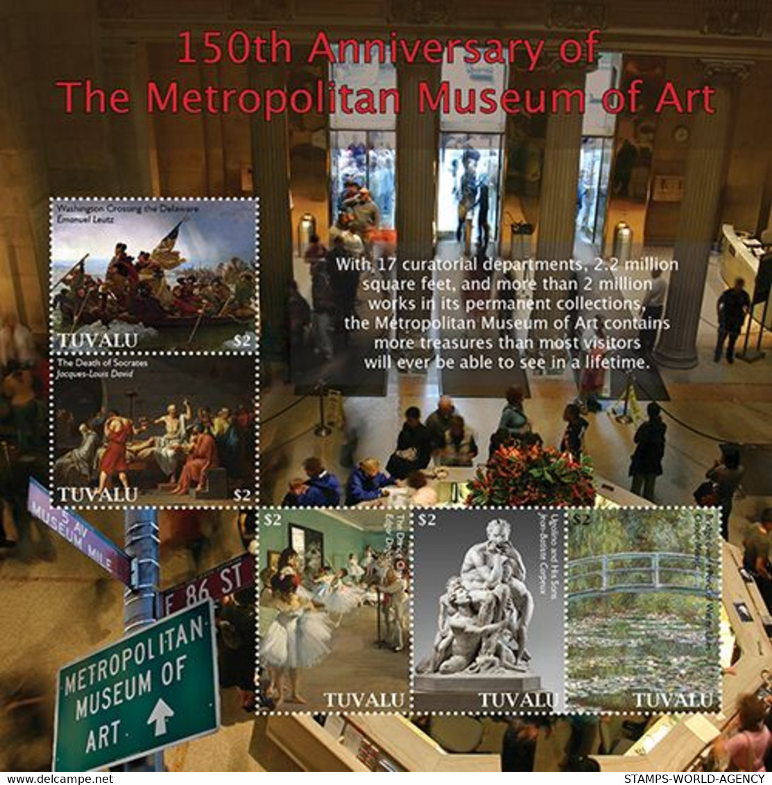 2020/12- TUVALU - METROPOLITAN MUSEUM 150TH    5V   MNH ** - Archéologie