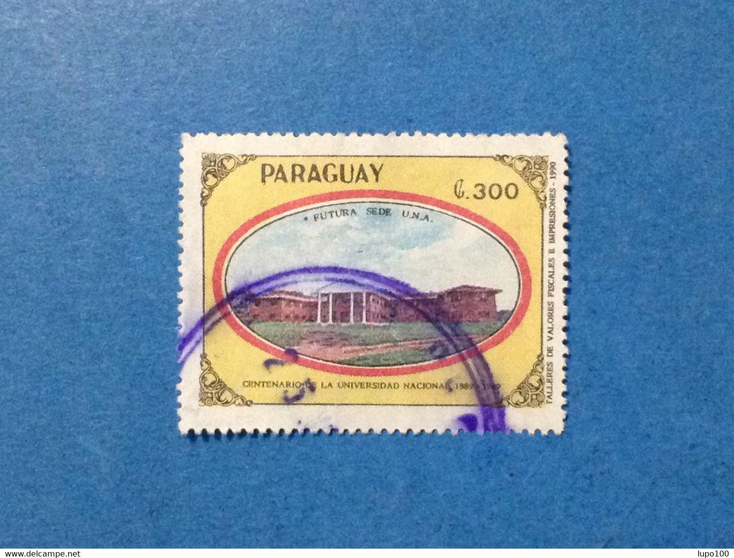 PARAGUAY FRANCOBOLLO USATO STAMP USED UNIVERSIDAD NACIONAL FUTURA SEDE UNA 300 - Paraguay