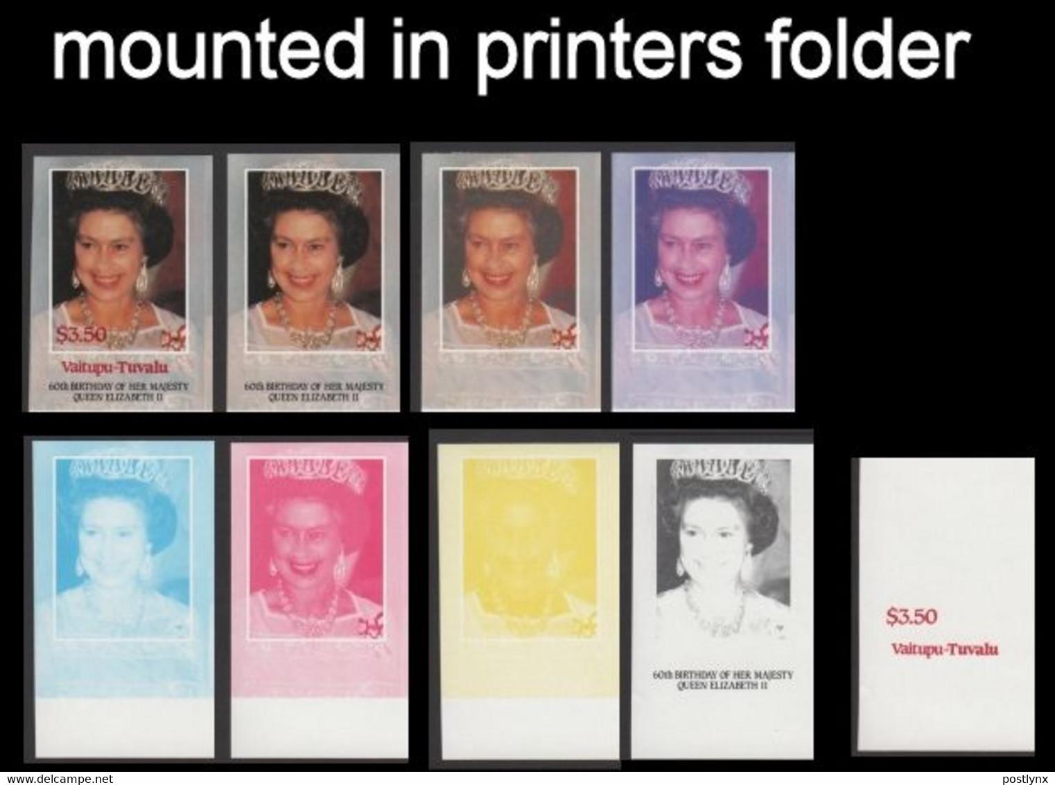 TUVALU-Vaitupu 1986 Q2 Birthday $3.50 PROGRESSIVE PROOFS:9 Items In Printers Fldr - Tuvalu