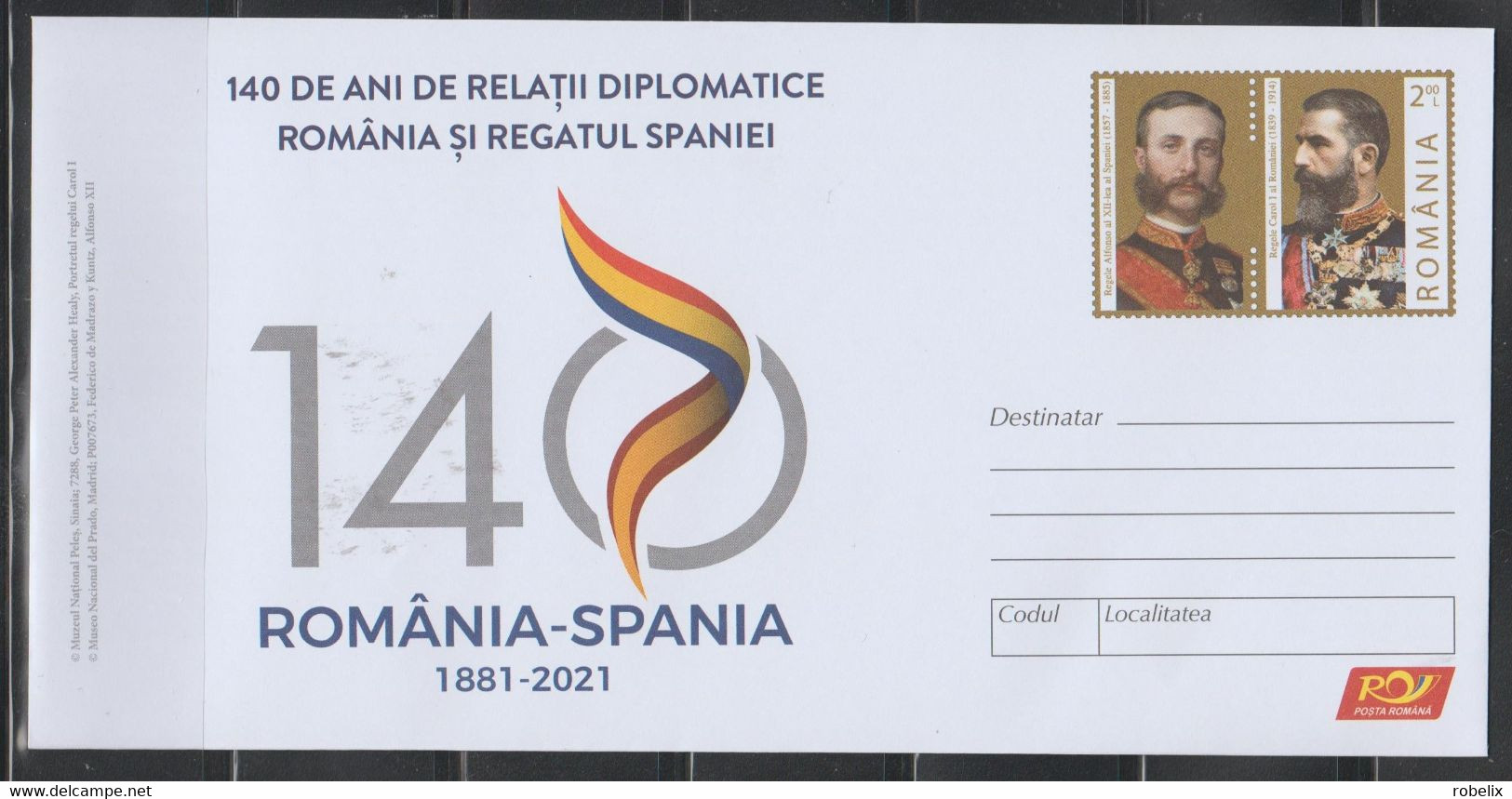 ROMANIA 2021 140 Years Diplomatic Relations Romania - Spain (1881-2021)  Cover Stationery Unused - Entiers Postaux