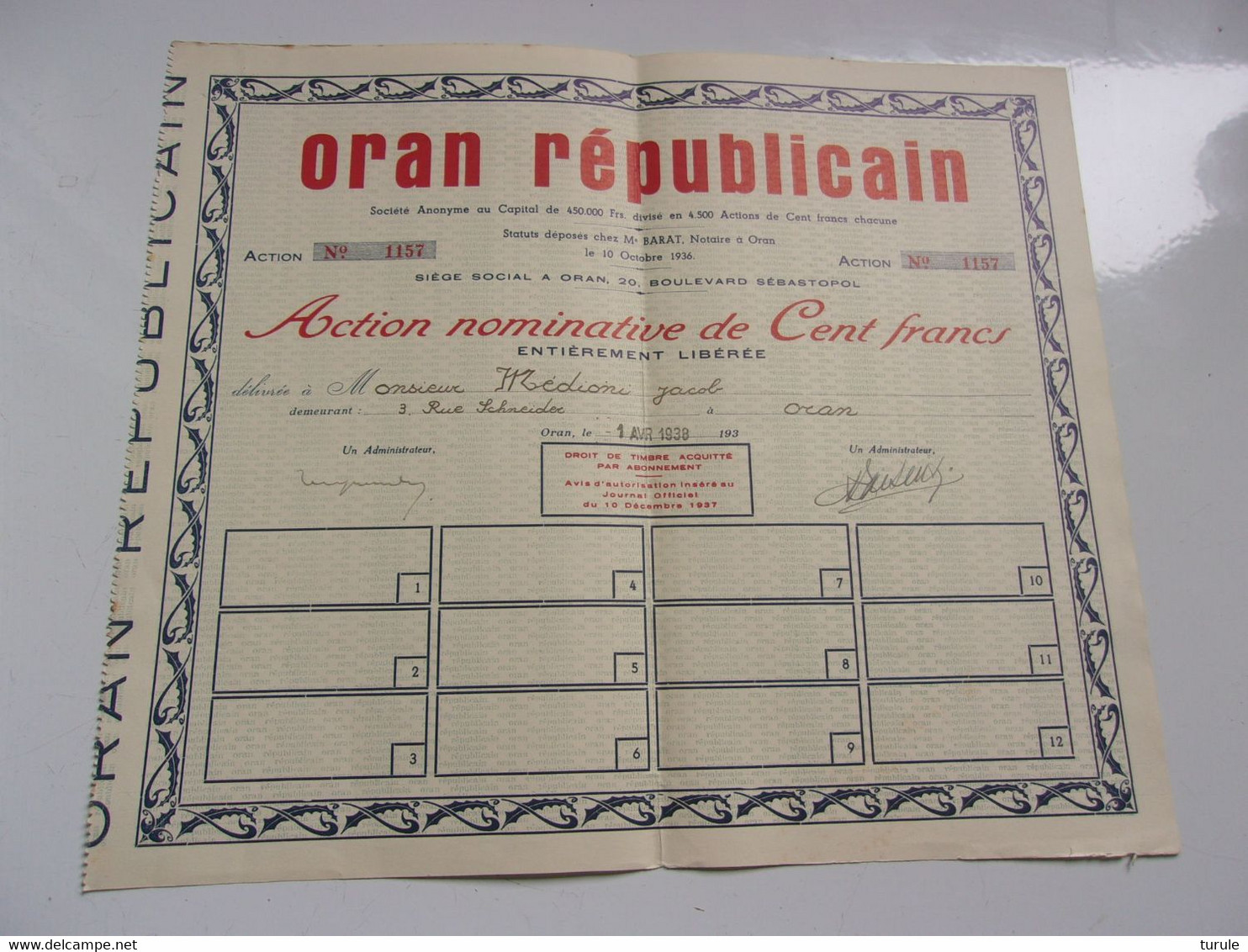 ORAN REPUBLICAIN (1938) Oran,algérie - Unclassified