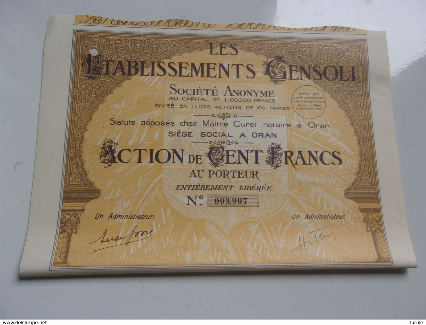 établissements GENSOLI (oran , Algérie) - Unclassified