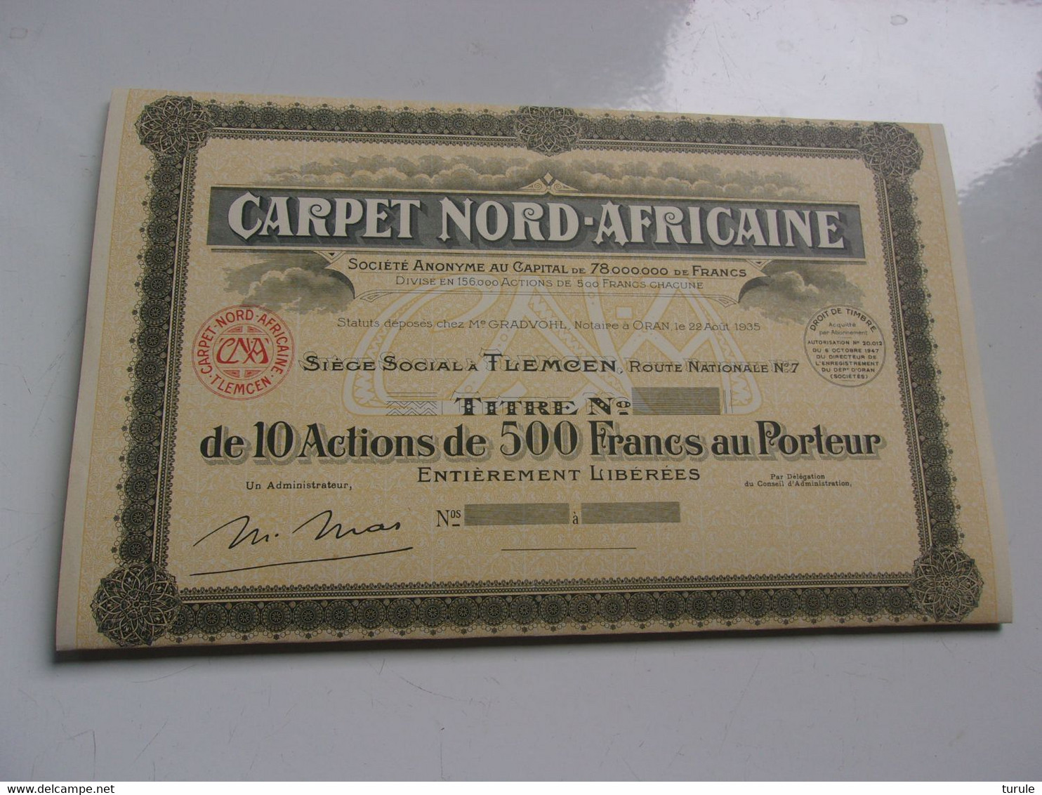 CARPET NORD-AFRICAINE (titre De 10 Actions De 500 Francs) TLEMCEN ALGERIE (1947) - Unclassified