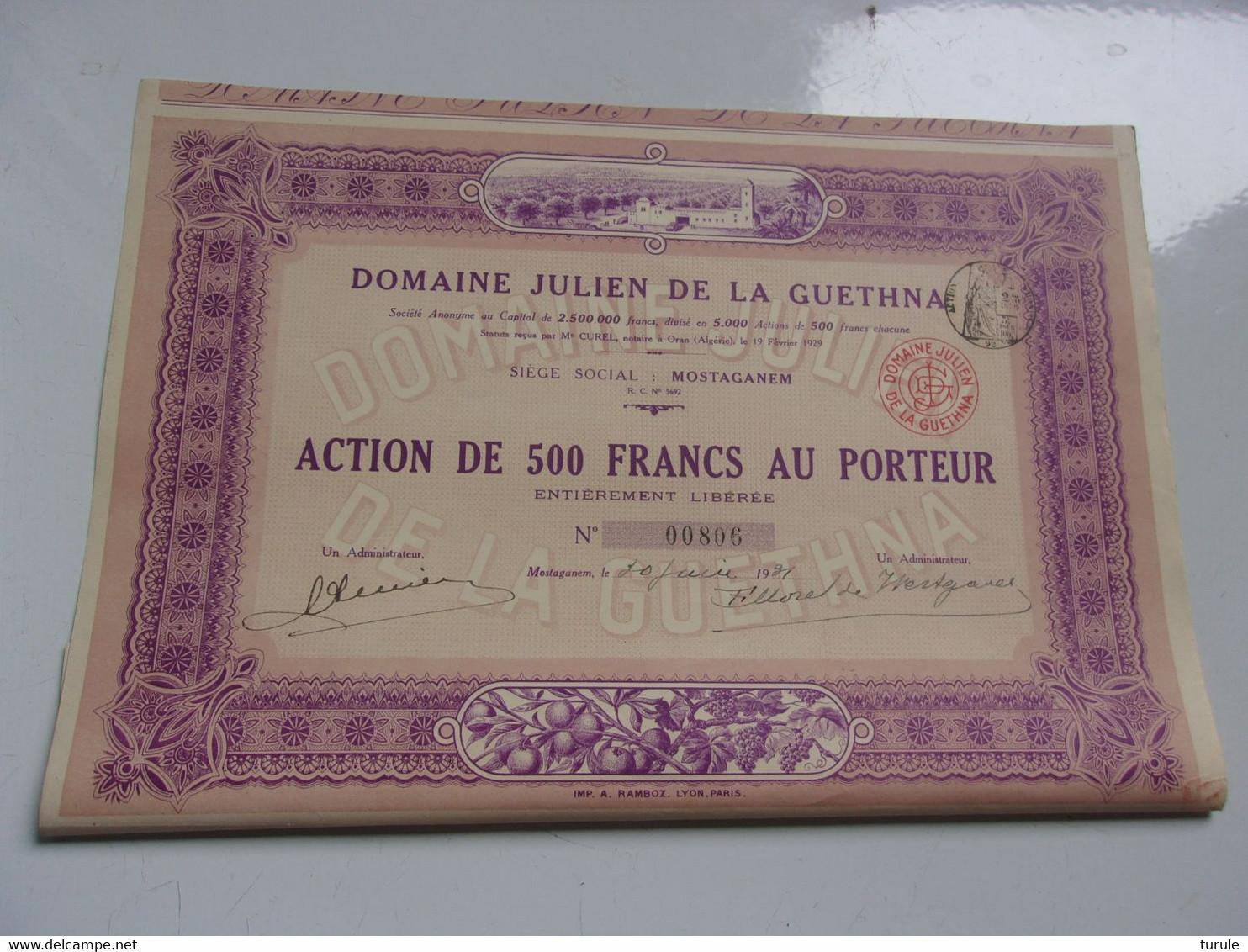 DOMAINE JULIEN DE LA GUETHNA (déco) MOSTAGANEM ALGERIE - Unclassified