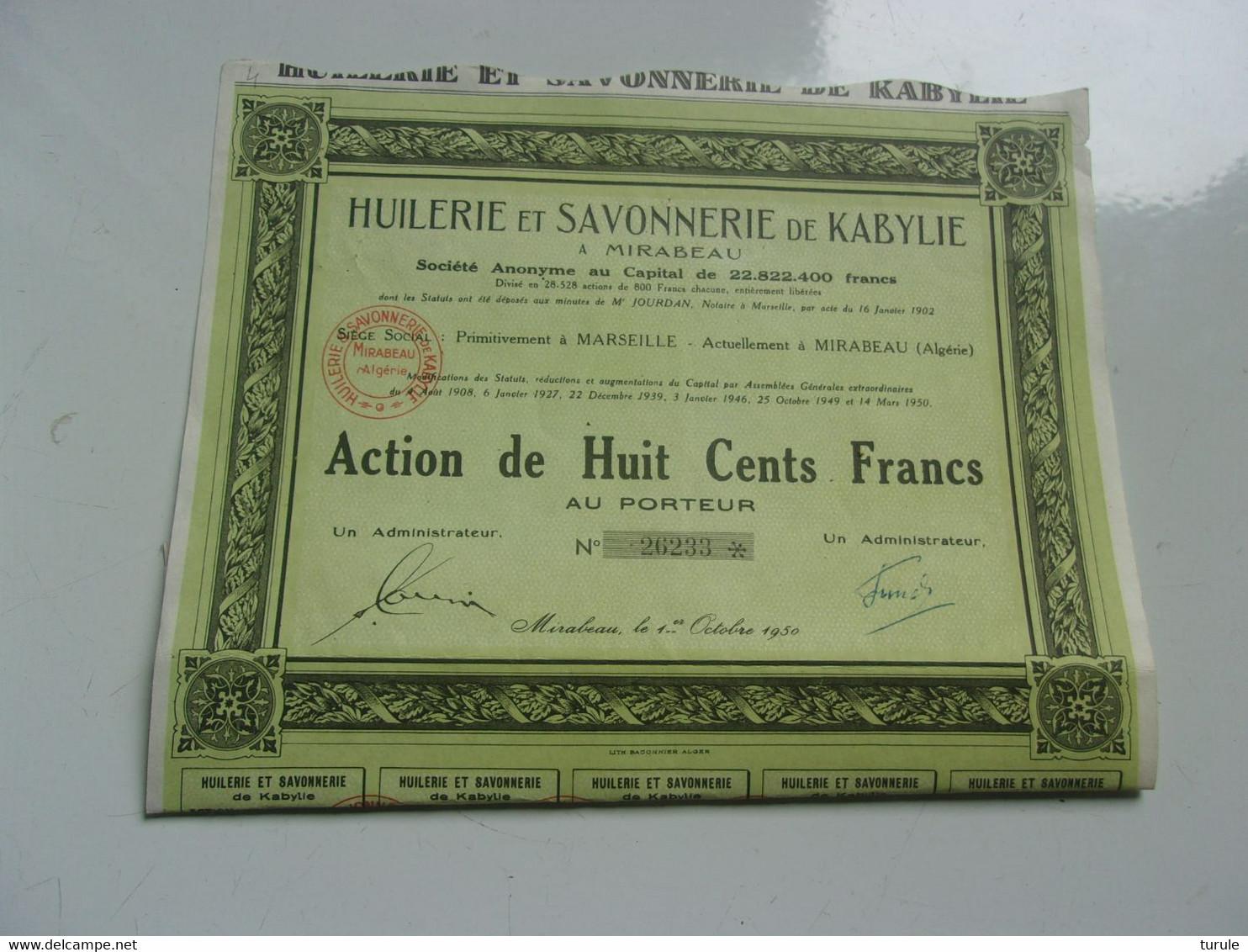 HUILERIE ET SAVONNERIE DE KABYLIE (mirabeau , Algérie) - Unclassified