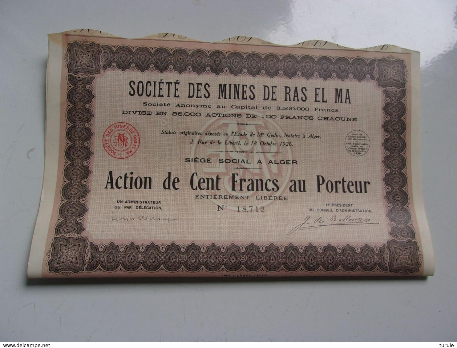MINES DE RAS EL MA (100 Francs , Capital 3,5 Millions)  ALGERIE - Unclassified