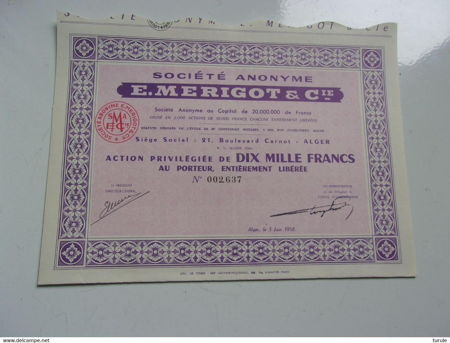 MERIGOT & Cie (10000 Francs) Alger,algerie - Unclassified