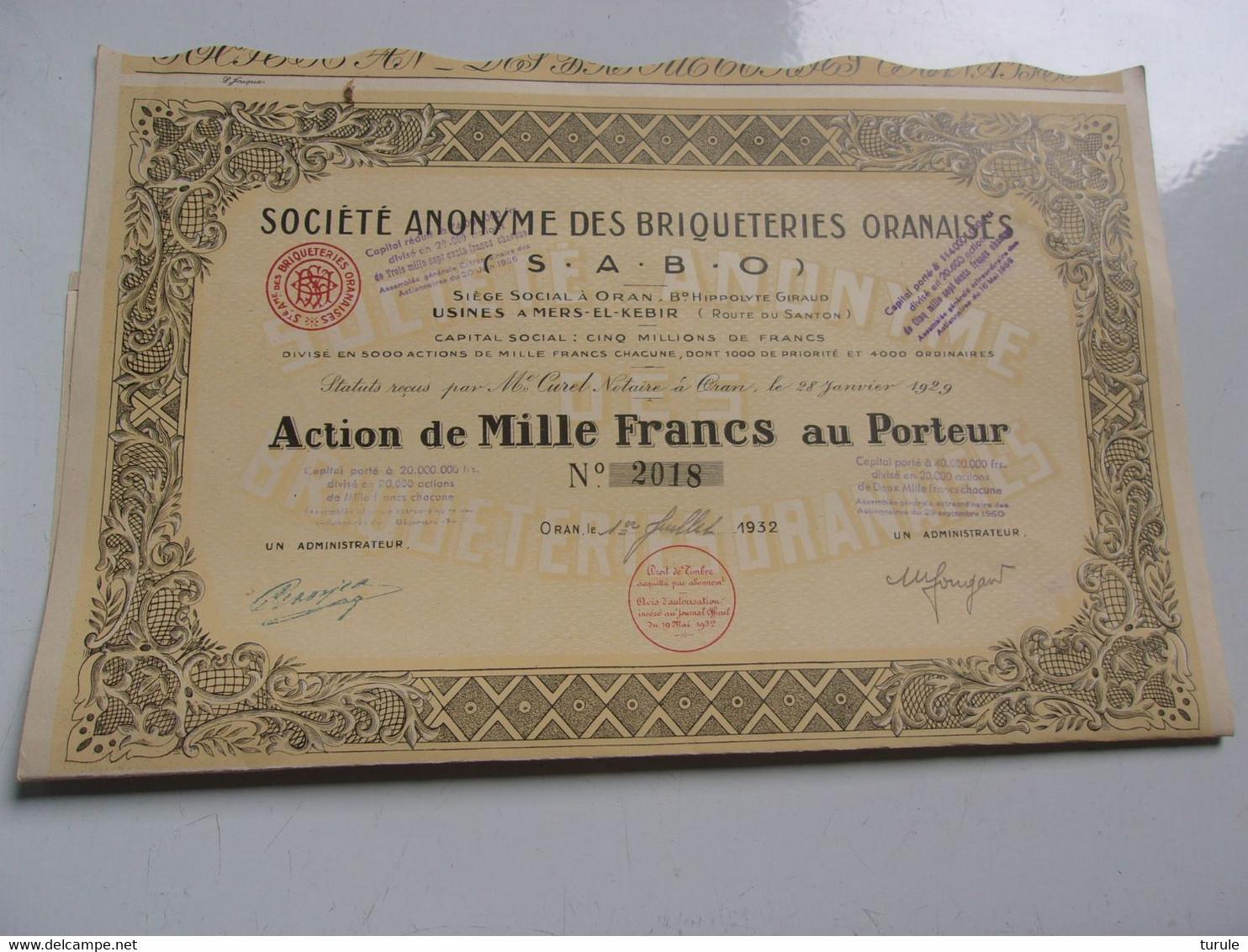 BRIQUETERIES ORANAISES (1932) ALGERIE - Unclassified
