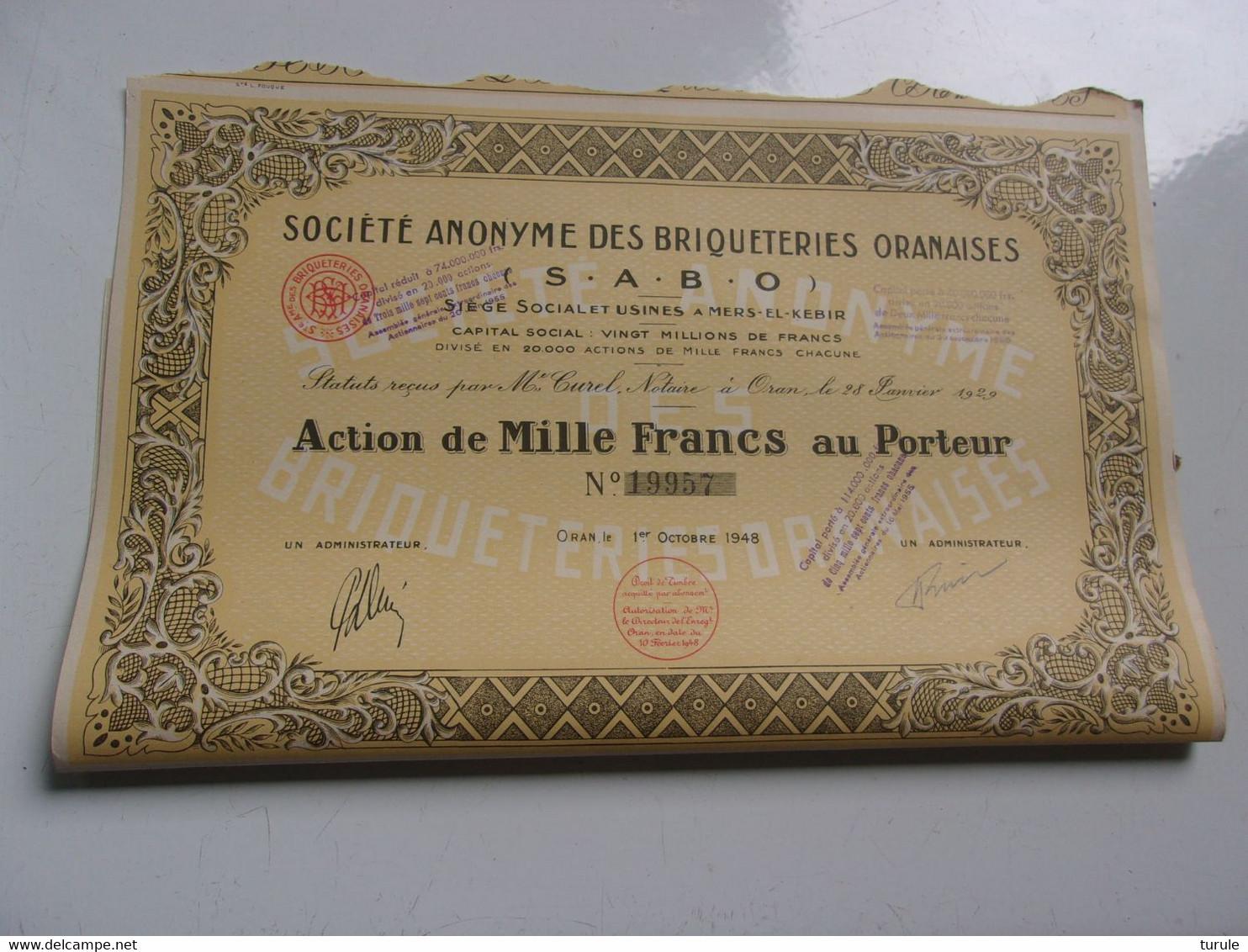 BRIQUETERIES ORANAISES (1948) ALGERIE - Unclassified