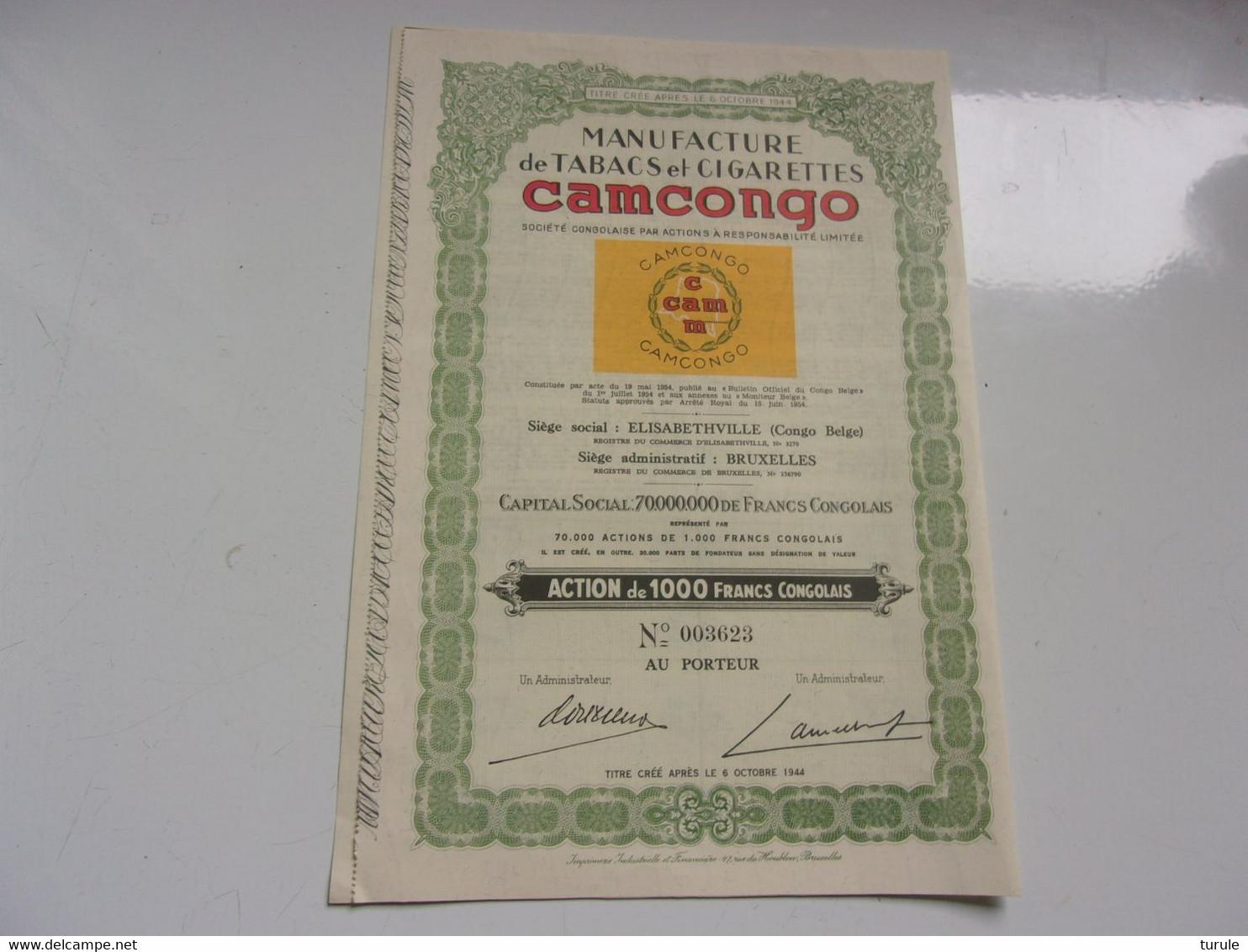 CAMCONGO Manufacture Tabacs Et Cigarettes (ELISABETHVILLE , CONGO BELGE) - Unclassified