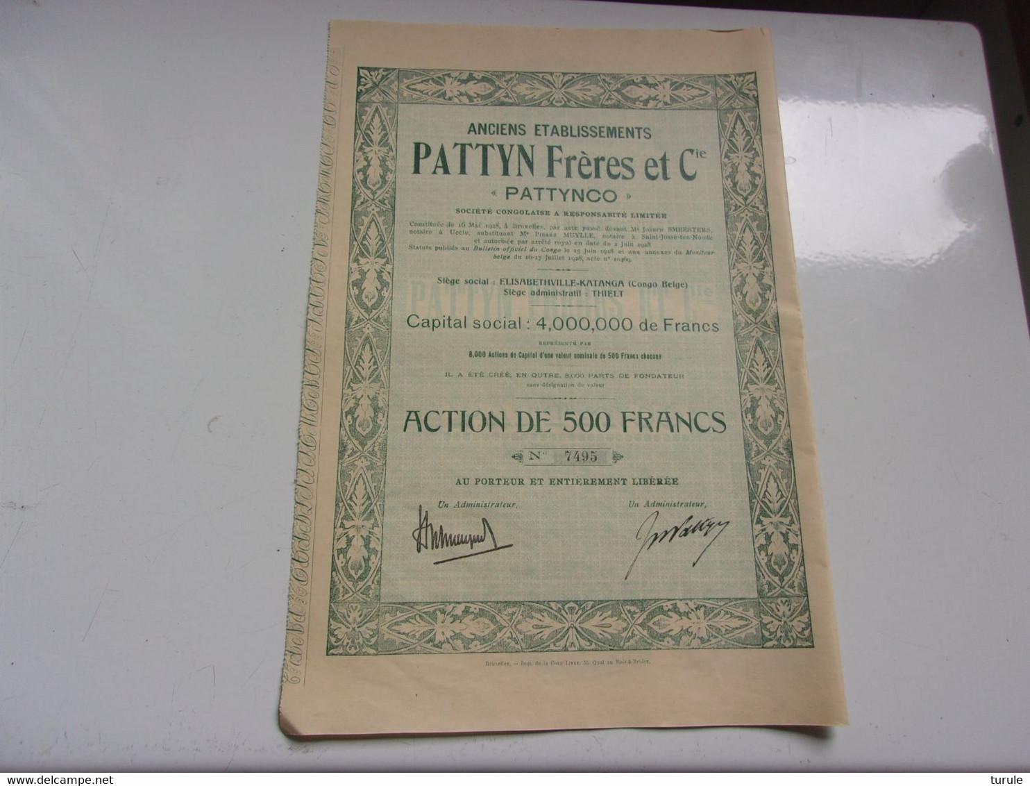 PATTYNCO (pattyn Freres) ACTION 500 FRANCS (élisabethville,congo Belge) - Unclassified