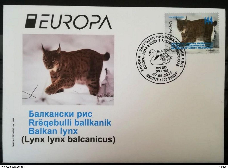 Macedonia Mazedonien 2020  MNH ** Ma 883 EUROPA 2021 Mazedonien– ENDANGERED NATIONAL WILDLIFE FDC Stamp M - 2020