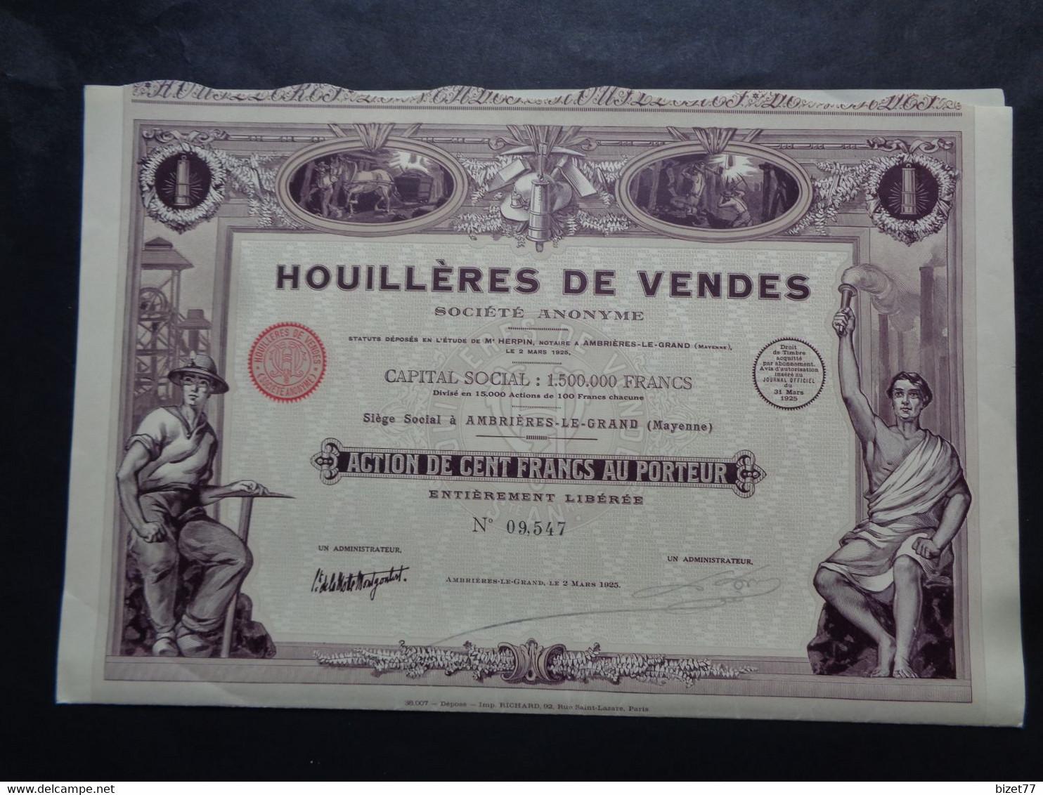 FRANCE  - 53 - AMBRIERES LE GRAND 1925 - HOUILLERES DE VENDES - ACTION DE 100 FRS -  BELLE DECO - Unclassified