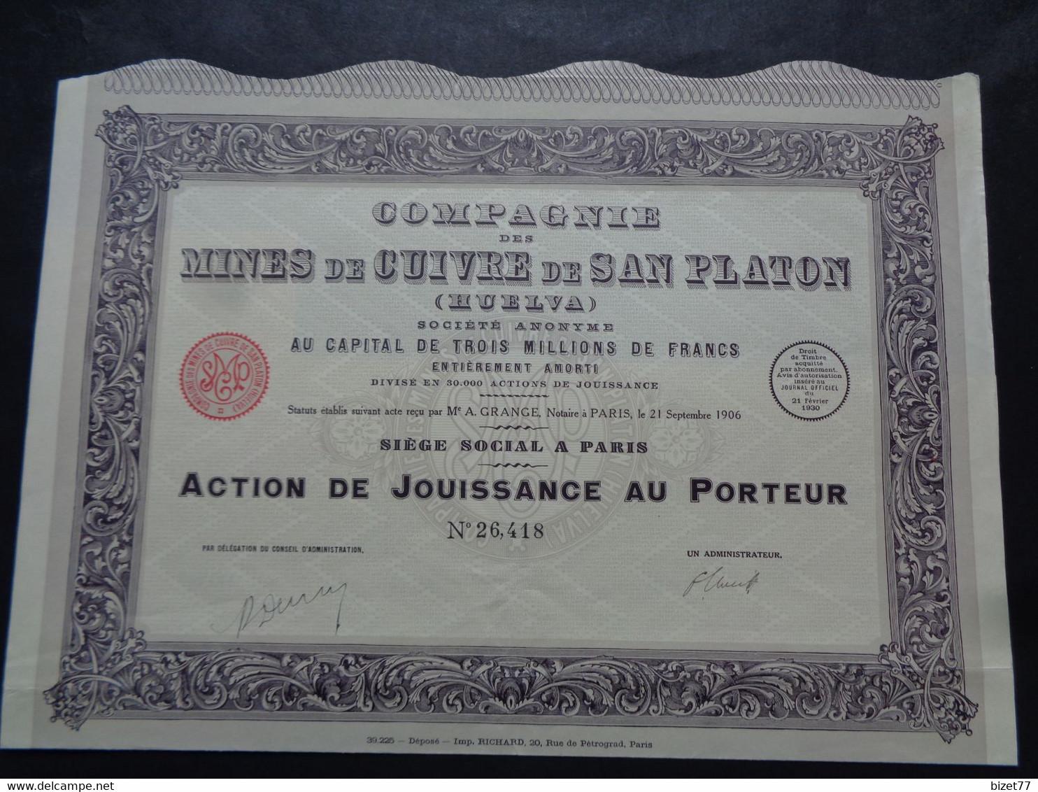ESPAGNE - CIE DES MINES DE CUIVRE DE SAN PLATON, HUELVA - ACTION DE JOUISSANCE - PARIS 1930 - Unclassified