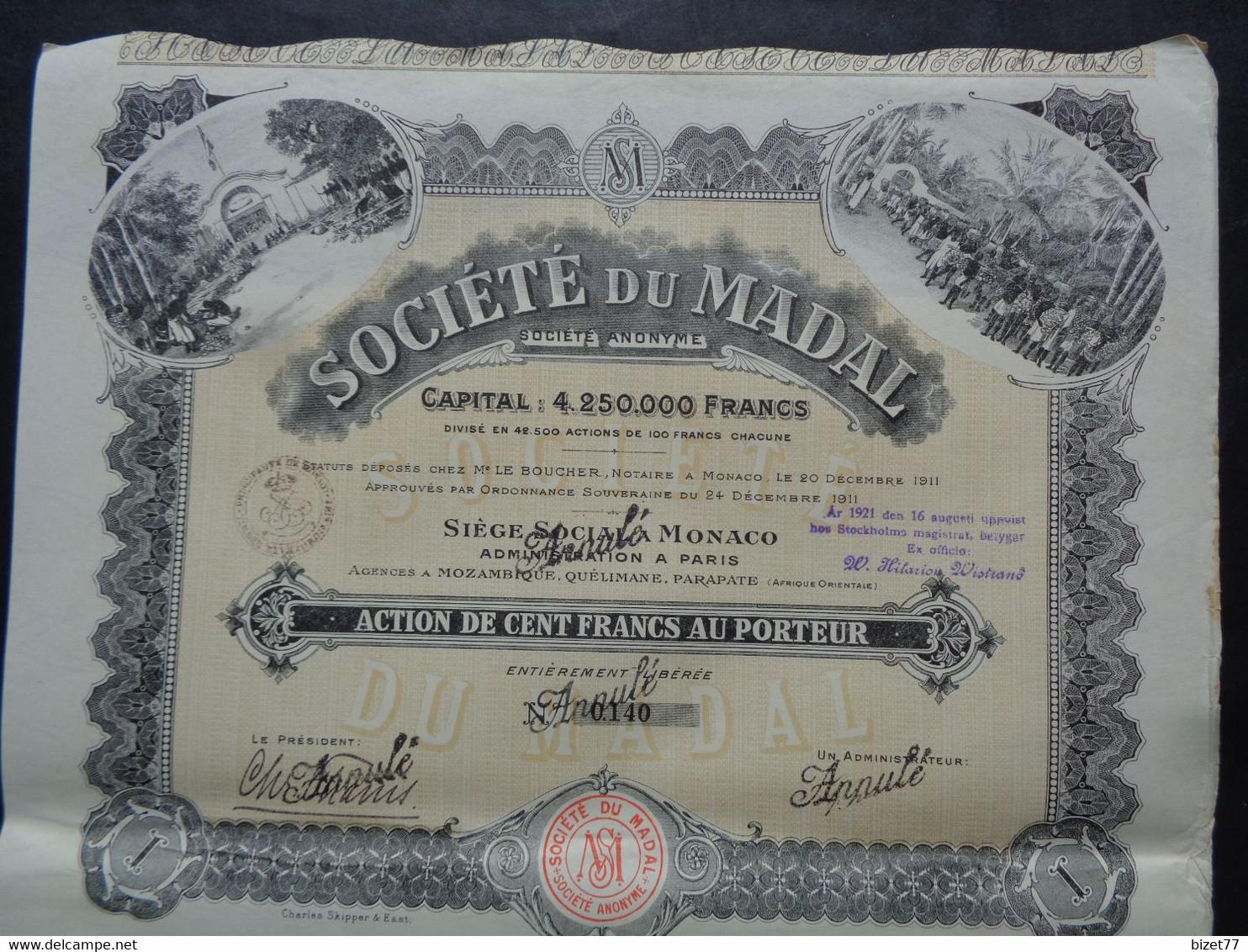 AFRIQUE - STE DU MADAL : MOZAMBIQUE, QUELIMANE, PARAPATE - ACTION DE 100 FRS - MONACO 911 - Unclassified