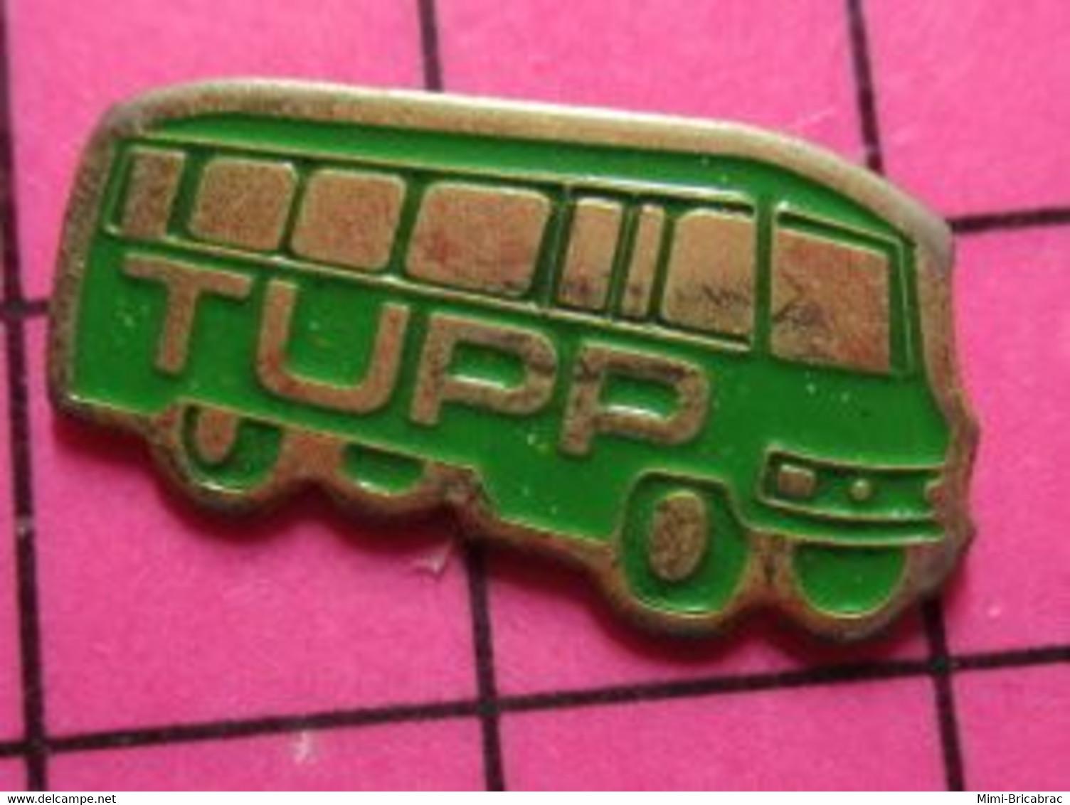 SP09 Pin's Pins / Beau Et Rare / THEME : TRANSPORTS /  AUTOBUS ROUTIER VERT TUPP Pas Erware ! - Trasporti