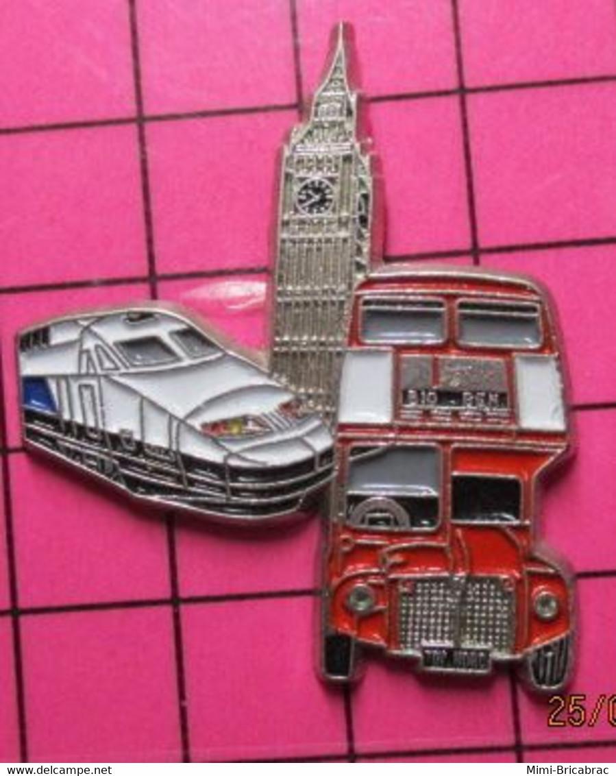 SP10 Pin's Pins / Beau Et Rare / THEME : TRANSPORTS / Grand Pin's AUTOBUS URBAIN ANGLAIS ROUGE + TGV + BIG BEN - Trasporti